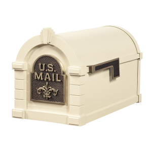 Gaines Fleur De Lis Keystone MailboxesAlmond with Antique Bronze