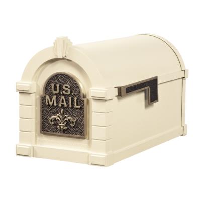Gaines Fleur De Lis Keystone MailboxesAlmond with Antique Bronze