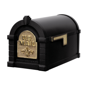 Gaines Fleur De Lis Keystone MailboxesBlack with Polished Brass