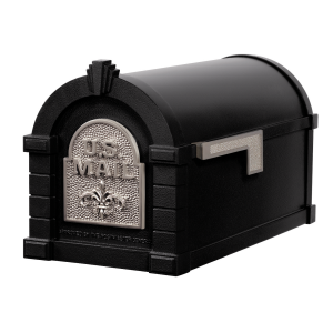 Gaines Fleur De Lis Keystone MailboxesBlack with Satin Nickel