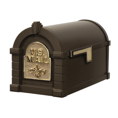 Gaines Fleur De Lis Keystone MailboxesBronze with Polished Brass