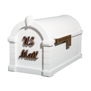 Gaines Signature Keystone MailboxesWhite with Antique Bronze