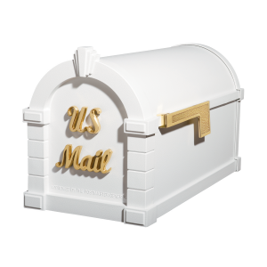 Gaines Signature Keystone MailboxesWhite with Polished Brass
